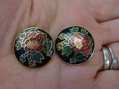 Vintage Round Cloisonne Clip On Earrings by EternalElementsEtsy