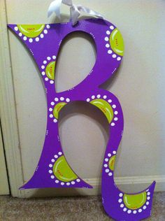 "Purple ""R"" wooden door hanger"