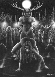 The Greenman Cernunnos/Herne the Hunter... Blessings of the God of the Dance...By Artist Unknown...