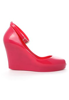 Jelly Rubber Wedge Pumps Platforms in Hot Pink