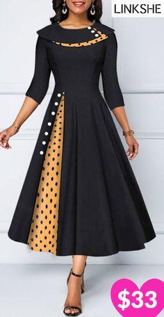 A Line Button Detail Polka Dot Print Dress Tight Dresses, Fall Dresses, Elegant Dresses, Sexy Dresses, Summer Dresses, Formal Dresses, Wedding Dresses, Trendy Dresses, Women's A Line Dresses