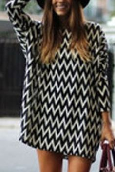 Black White Long Sleeve Striped Chiffon Dress