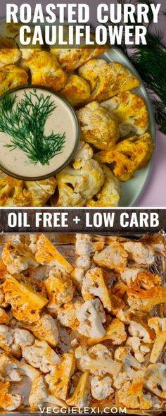 Roasted Curry Cauliflower Florets with Homemade Vegan Ranch - by Veggie Lexi Vegan Recipes Beginner, Healthy Recipes On A Budget, Vegetarian Recipes Dinner, Healthy Breakfast Recipes, Easy Dinner Recipes, Appetizer Recipes, Whole Food Recipes, Keto Recipes, Vegan Appetizers