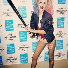 We had to do a double-take: Poppy Delevingne nails this year's most Googled costume, while simultaneously repping sister Cara's upcoming film, Suicide Squad.  #refinery29 http://www.refinery29.com/2015/10/96704/best-celebrity-halloween-costumes-2015#slide-15