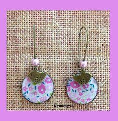 Grandes boucles d'oreilles liberty faiford rose : Boucles d'oreille par crocmyys
