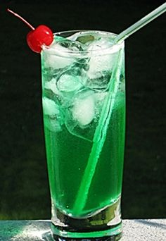 Emerald City: Malibu Coconut Rum, Midori Melon Liqueur, Blue Curacao, Sweet & Sour Mix, 7-Up