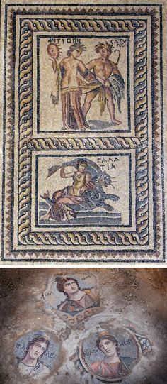 The mosaics that once decorated Zeugma's elite residences often depicted mythological scenes such as the story of Antiope and the satyr (top), the nymph Galatea (middle), and the muses (above). The choice of topic was not only decorative, but was also informed by the homeowners' level of learning and idea of how they wished to be regarded by their guests.