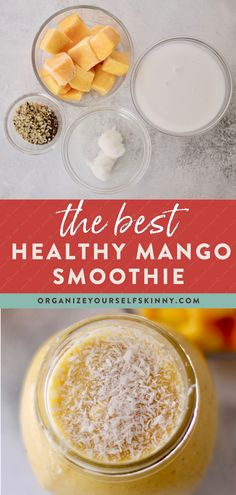 The Best Healthy Mango Smoothie | Easy Smoothie Recipes - Want to make an easy, healthy, summer smoothie for breakfast? This mango smoothie recipe is creamy, thick, and super refreshing. Not to mention after one sip, you feel like you got a shot of vitamin C. Click for this healthy, dairy-free and vegan smoothie | breakfast smoothie recipe | healthy breakfast smoothies for weight loss | Organize Yourself Skinny #smoothie  #healthysmoothie #breakfastsmoothie #mealprep #cleaneating Mango Smoothie Healthy, Vegan Breakfast Smoothie, Mango Smoothie Recipes, Breakfast Smoothies For Weight Loss, Vegan Smoothies, Yummy Smoothies, Healthy Breakfast Recipes, Healthy Drinks, Healthy Foods