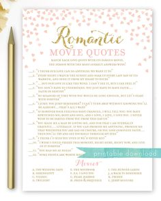 Excited to share the latest addition to my #etsy shop: Romantic Movie Quotes Bridal Shower Game . Pink and Gold Bridal Shower Games . Printable Instant Download . Gold Glitter Pink Hearts