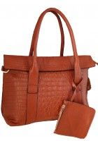 Aubree Bouillon -- Women's Brown Flap Over Leather Tote $106.95