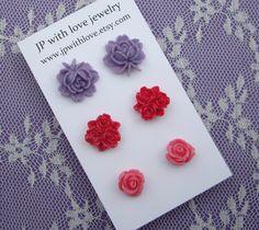 Flower Stud earrings pink ruby red and purple resin by @JPwithlove http://etsy.me/mTjeN2 #flower #resin #earrings $18