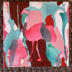"12"" x 12"" Poured Acrylic Original Painting - Pink Flamingo - For Sale on Etsy $55.00"