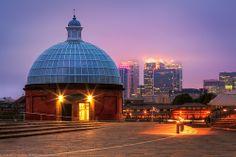 Greenwich Foot Tunnel Entrance Building towards Canary Wharf, Greenwich, London, England (G)