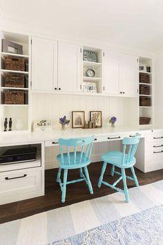 Kitchen Desk. Kitchen desk painted in Benjamin Moore Simply White OC-117. Kitchen Desk Cabinet Benjamin Moore OC-117 Simply White. #BenjaminMooreSimplyWhite #Kitchen #DeskHeydt Designs.