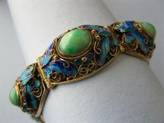 Vintage 1950's Chinese Sterling Silver Filigree Jade Butterfly Enamel Bracelet