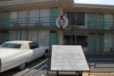 Memphis -- National Civil Rights Museum. The wreath is on the balcony of the Lorraine Motel where Dr. Martin Luther King Jr was assassinated in 1968.