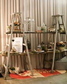 neat Idea for Dessert Table  Check Flea Markets for old wooden ladders