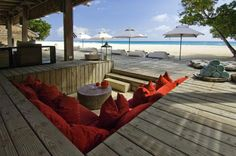 I love these sorts of sunken sitting areas on a deck!
