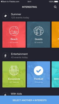 I love the way the colorful squares jump off the screen against the navy blue background. And the overall layout is nicely organized. Web Design, App Ui Design, User Interface Design, Graphic Design, Apps, To Do App, Module Design, Iphone Ui, Android Design