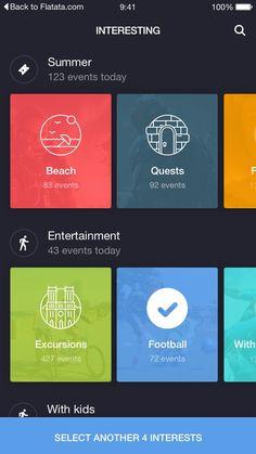 UI 디자인 - 항목별 옆으로 넘기면서 볼수 있게되어있는 구성이 참고하면 좋을것같다.