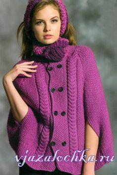 Coat - Poncho cu ace de tricotat în roz