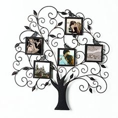 """2015 JULY NEW Product!! Adeco Brown Black Decorative Tree Style Collage Iron Metal Wall Family Tree Scroll Haning Picture Photo Frame, 5 Opening , 4x4"""" Each Adeco http://www.amazon.com/dp/B00ZQ8F56A/ref=cm_sw_r_pi_dp_FzTgwb0QXN0FV"""