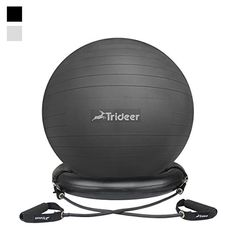 Trideer 65cm Exercise Yoga Balancing Ball with Stability Ring Antiburst  AntislipGreat for Improving Balance  Core Strength Relieving Back Pain  Adjusting Black with Ring  Bands 65cm *** Details can be found by clicking on the image.