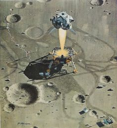 """Apollo 11 LM """"Eagle"""" flies   over Little West crater during   final approach to landing.   From """"The Flight of Apollo 11:   """"One Giant Leap For Mankind"""""""",   Vol. 136, No. 6, December, 1969"""