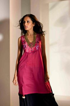 Lovely evening dress.  Copyright © W For Woman. All rights reserved.  #ethnic #long #kurti #india #woman #fashion #clothing #red #pink #black #bottom #style #fashion #colors #india #wear