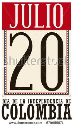 Poster with retro loose-leaf calendar and reminder date for Colombian Independence Day (written in Spanish) with tricolor frames in the paper.