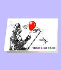 Darth Vader Card Star Wars Card Happy Birthday Card by RosalisArt Star Wars Invitations, Invitation Cards, Happy Birthday Cards, Playing Cards, Greeting Cards, Darth Vader, Stars, Handmade Gifts, Party