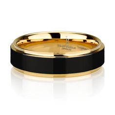 Black Tungsten Ring Yellow Gold Wedding Band Ring Tungsten Carbide 8mm 14K Tungsten Ring Man Wedding Band Male Women Custom Anniversary Size