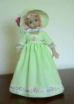 "SOLD ""Sense & Sensibility: Lime"" Regency Dress for 13"" Dianna Effner Little Darling #LuminariaDesigns"