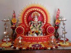 In house ganpati decoration - House decor Gauri Decoration, Decoration For Ganpati, Ganesh Pooja, Ganesha, Festivals Of India, Indian Festivals, Mandir Design, Ganapati Decoration, Pooja Mandir