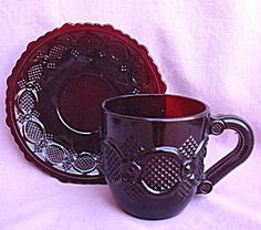 AVON CAPE COD RUBY GLASS CUP AND SAUCER