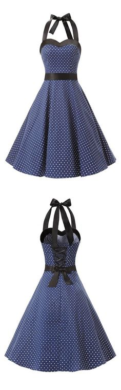 50s dress,fashion vintage style dress,polka dots dress,ruched retro dress,halter dress