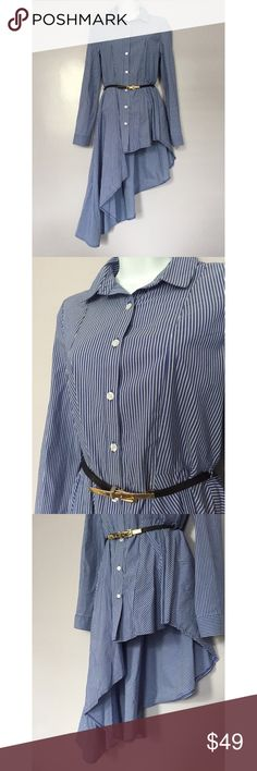FLASH SALE {Gracia} Asymmetrical Striped Top This asymmetrical button down shirt with belt is a head turner! 97% cotton, 3% spandex. FLASH SALE FEB 12 ONLY! Gracia Tops