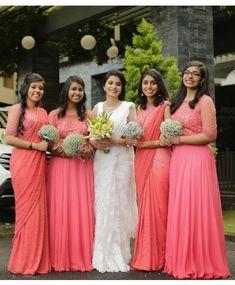 Bridesmaids in Peach Saree Ensembles