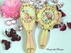 Hair Brush and Mirror, Decoupaged Wooden hairbrush and mirror, Hand Painted Dressing Table Set,Shabby Chic Dressing set, Flower Girl Gift