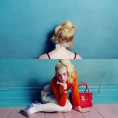 Elle Fanning photographed by Inez and Vinoodh for Miu Miu SS14 - nice style of dividing a photo into two halves