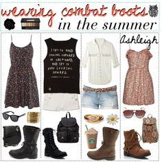 """wearing combat boots in the summer; ♥"" by the-polyvore-tipgirls on Polyvore"