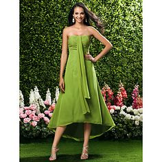 Sheath/ Column Strapless Asymmetrical Chiffon Bridesmaid/ Wedding Party Dress – EUR € 64.01