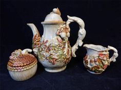 Ceramic Oak Leaf & Acorn Tea Pot Set w/Creamer & Covered Sugar Bowl EUC / $34