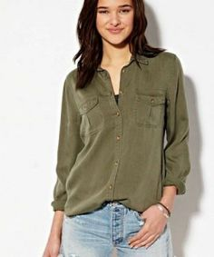NWT Women American Eagle AE Safari Shirt Button Down Army Olive Green Small #AmericanEagleOutfitters #ButtonDownShirt #Casual