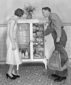 """Into the 1930s, households used large blocks of ice to keep food cold in """"iceboxes."""" This photo is from the 1920s. Courtesy of the Sloane Collection."""