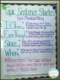 Sentences Great anchor chart for teaching students to write topic sentences. Thanks Teaching with a Mountain View!Great anchor chart for teaching students to write topic sentences. Thanks Teaching with a Mountain View! Expository Writing, Paragraph Writing, Informational Writing, Opinion Writing, Essay Writing, Informative Writing, Nonfiction, Writing Lab, Improve Writing