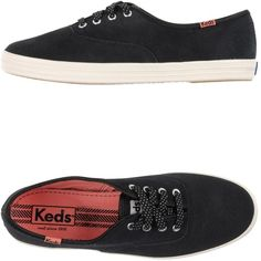 Keds Sneakers ($24) ❤ liked on Polyvore featuring shoes, sneakers, heels, black, black leather trainers, flat heel shoes, black shoes, black sneakers and keds shoes