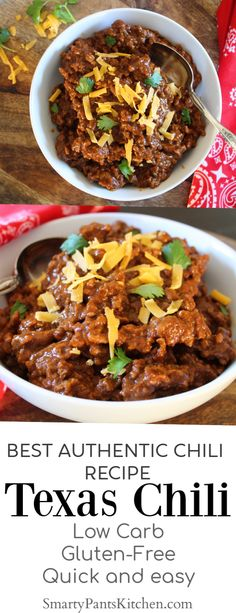 Texas Chili - SmartyPantsKitchen Looking for the best authentic Texas Chili Recipe? Easy, delicious with a secret ingredient that takes chili to another level! Chilli Recipes, Gourmet Recipes, Dinner Recipes, Cooking Recipes, Healthy Recipes, Best Texas Chili Recipe, Secret Chili Recipe, Grandma's Recipes, Slow Cooking