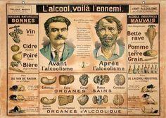 L'alcool, voilà l'ennemi. Before and after alcoholism, vintage French medical illustration.