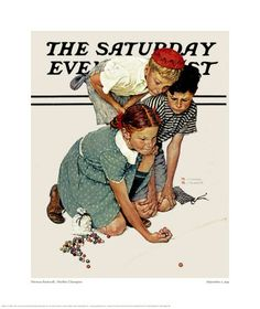 Norman Rockwell, I remember playing marbles In my grandparents hallway :)